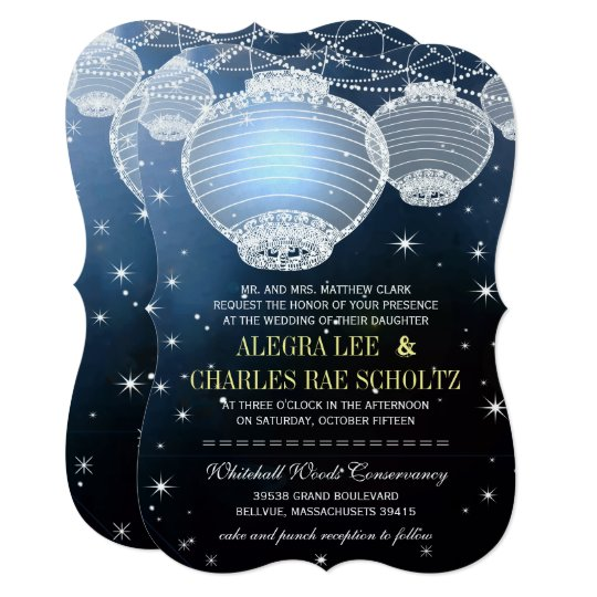 evening wedding navy paper lantern under the stars invitation
