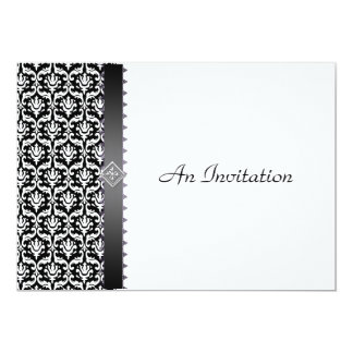 Evening Wedding Reception Black & White Damask 5x7 Paper Invitation Card