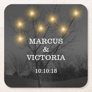 Evening Wedding Tree Lights Square Paper Coaster