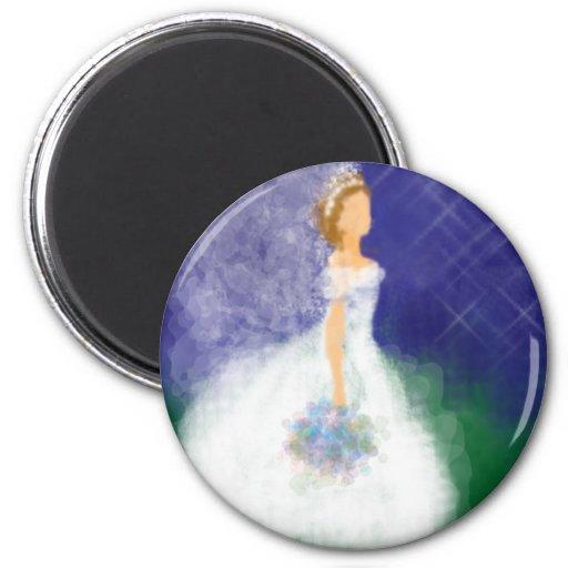 Evening Wedding Under the Stars Bride 2 Inch Round Magnet