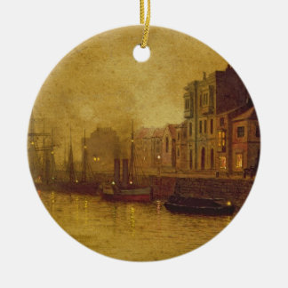 Evening, Whitby Harbour, 1893 (oil on board) Ceramic Ornament