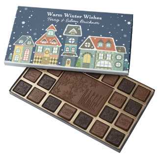 Evening Winter Holiday Scene Village Homes 45 Piece Box Of Chocolates