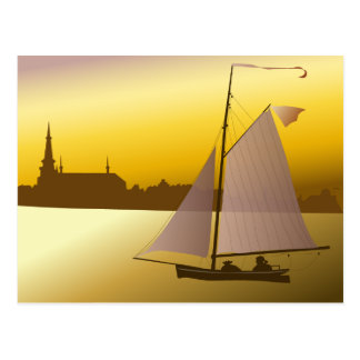 Evening yachtsman postcard