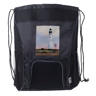 Evening's Lighthouse Drawstring Backpack