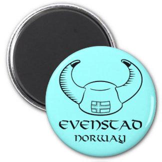 Evenstad Norway Viking Hat 2 Inch Round Magnet