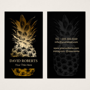 Catering business cards templates zazzle event catering modern black gold pineapple business card flashek Gallery