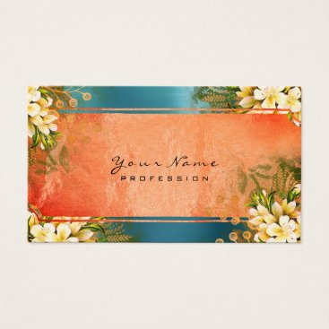 McTiffany Tiffany Aqua Event Floral Mint Green Coral Blue Rose Gold Business Card