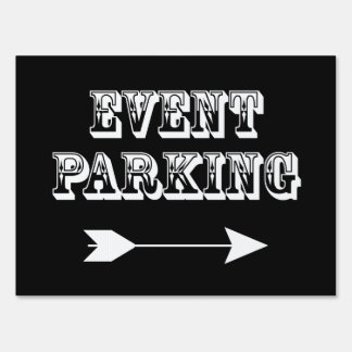 Event Parking Directional Arrow - Black Yard Sign