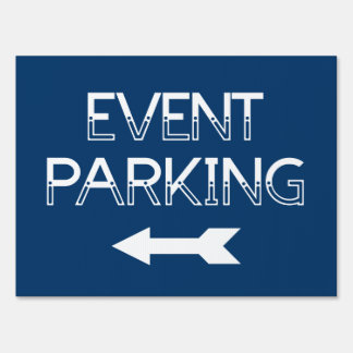 Event Parking Directional Arrow - Blue Yard Sign