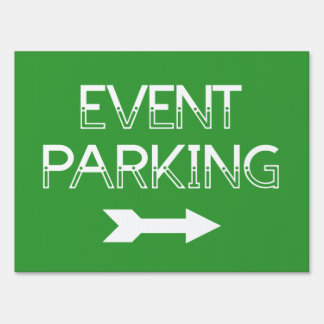 Event Parking Directional Arrow - Green Yard Sign