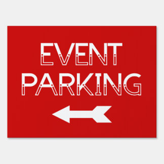 Event Parking Directional Arrow - Red Yard Sign