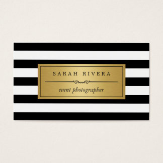 Event Photographer - Modern Black White Stripes Business Card