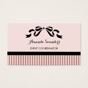 Hair bow business cards templates zazzle event planner chic parisian pink pinstripes bow business card colourmoves