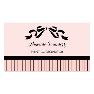 Event Planner Chic Parisian Pink Pinstripes Bow Double-Sided Standard Business Cards (Pack Of 100)