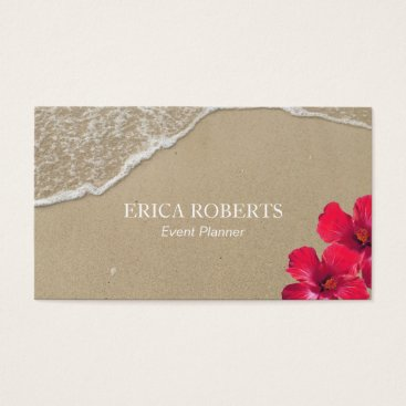 Beach Themed Event Planner Elegant Beach Hibiscus Red Floral Business Card