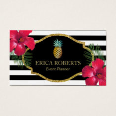 Event Planner Hawaiian Pineapple Modern Stripes Business Card at Zazzle