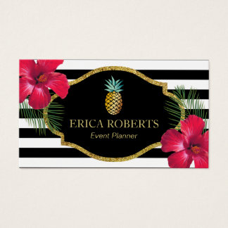 Event Planner Hawaiian Pineapple Modern Stripes Business Card