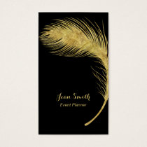 Event Planner Luxury Gold Peacock Feather Elegant Business Card