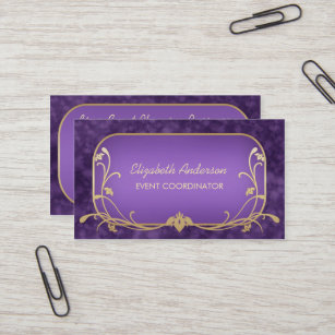Purple and gold business cards templates zazzle event planner luxury purple and gold floral swirls business card colourmoves