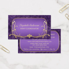 Event Planner Luxury Purple And Gold Floral Swirls Business Card at Zazzle