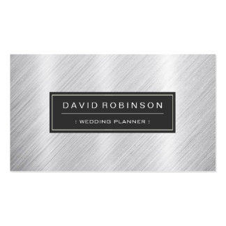 Event Planner - Modern Brushed Metal Look Business Card