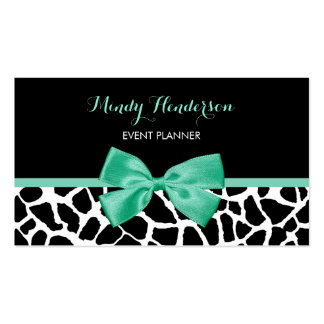 Event Planner Pretty Giraffe Print Mint Green Bow Double-Sided Standard Business Cards (Pack Of 100)