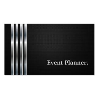 Event Planner Professional Black Silver Business Card