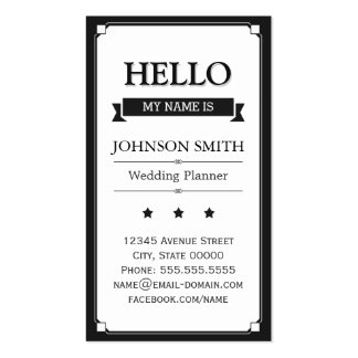 Event Planner - Retro Hello My Name Is Business Card