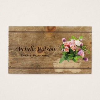 Event Planner Rustic Wood Professional Business Card