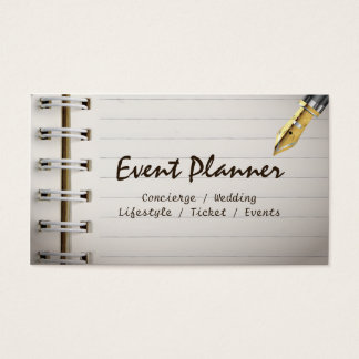 Event Planner Simple Notebook Professional Business Card