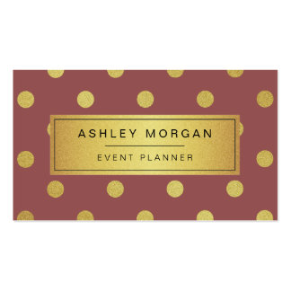 Event Planner - Trendy Marsala Gold Glitter Dots Business Card Templates