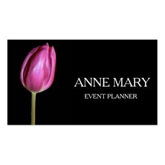 Event Planner Wedding Coordinator Pink Tulip Black Business Card