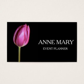 Event Planner Wedding Coordinator Pink Tulip Black Business Card