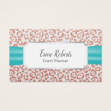 Wedding Themed Event Planning Rose Gold Leopard Turquoise Ribbon Business Card