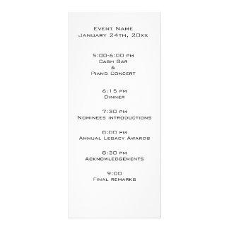 Event program template rack card template