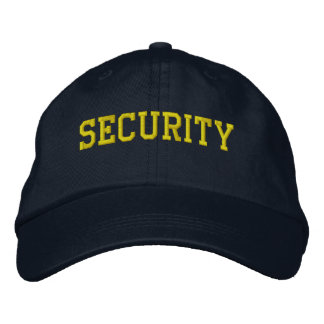 Event Security Golden Yellow on Black Embroidered Baseball Hat