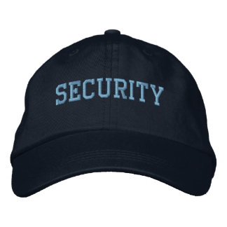 Event Security Light Blue on Black Embroidered Baseball Cap