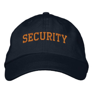 Event Security Orange on Black Embroidered Baseball Cap