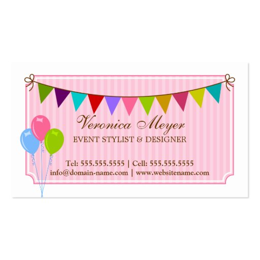 Event Stylist and Design Business Cards (back side)