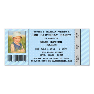 "Event Ticket Style Birthday Party Inviation 4"" X 9.25"" Invitation Card"