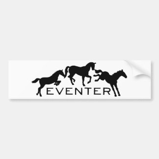 Eventer con tres caballos de salto pegatina de parachoque