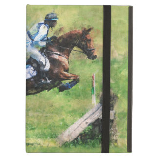 Eventer jumping a fence iPad folio cases