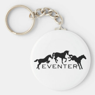Eventer with Three Jumping Horses Basic Round Button Keychain