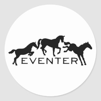 Eventer with Three Jumping Horses Classic Round Sticker
