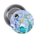 "Eventide 2"" Button, Geisha Dolphin Surreal Art"