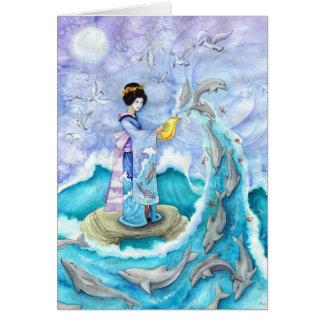 Eventide Asian Geisha Dolphin Greeting Card, Blank