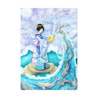 Eventide Geisha Dolphin Ukiyoe Wrapped Canvas Art Canvas Prints