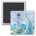 Eventide Magnet, Geisha Dolphin Surreal Art 2 Inch Square Magnet