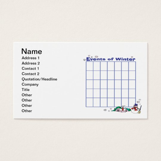 Events Of Winter Calender Business Card