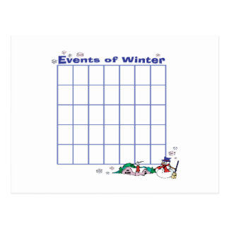 Events Of Winter Calender Postcard